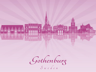 Gothenburg skyline in purple radiant orchid