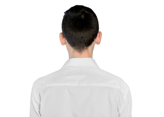 Young man back view