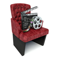 3d illustration. Cinema clapper board and theater seat