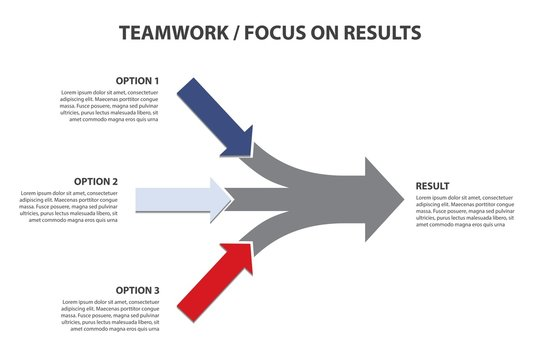 Focus on Results, Horizontal Arrows, Vector Infographic