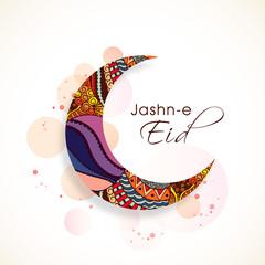 Floral moon for Islamic festival, Eid Mubarak celebration.