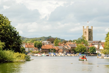 river view of the tourist town of Henley-on-Thames, UK Wall mural