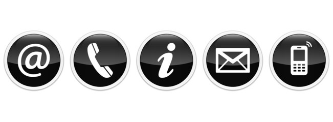 Contact Us – Round glossy black sticker buttons