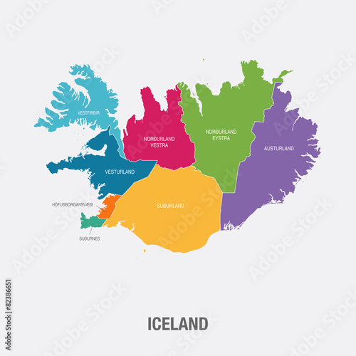 ICELAND MAP colored regions flat design vector illustration ...