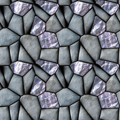 Seamless abstract pattern of silver stones and diamonds