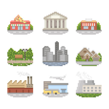 City Pixel Art Icon Set