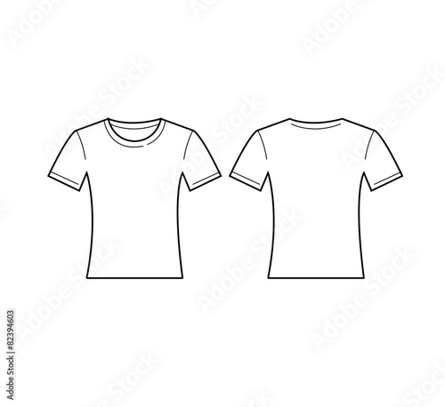 Vector of women white t shirt template front and back for Back t shirt template