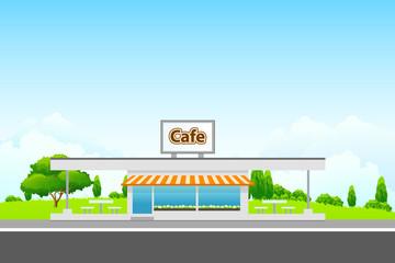 Landscape with cafe building