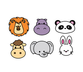 Set of Cute Animal head icon