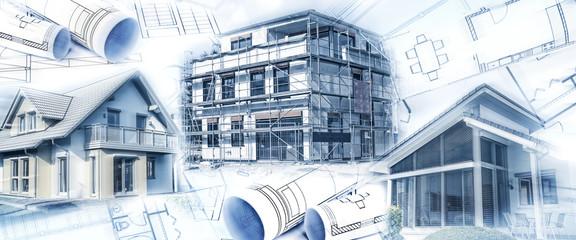 Neubauten mit einem Rohbau und Bauplänen