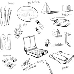 sketch vector set of art materials