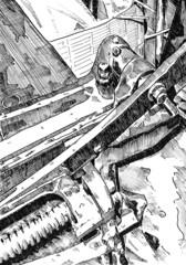 Railway wagon art drawing sketch illustration creativity