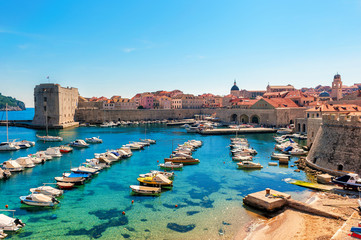 Beautiful sunny day over the bay in front of old town Dubrovnik