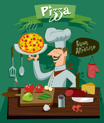 Cook in the kitchen preparing a pizza. A set of ingredients for