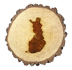 Slice of wood (shape of Finland branded onto) .(series)
