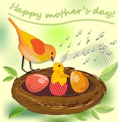 Happy mothers day, vector image with bird mother and bird baby