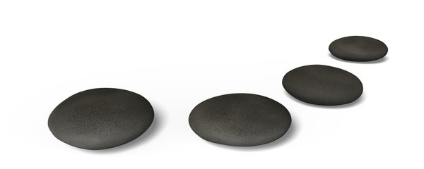 Stone. 3D. Three Pebble Stones in a Row