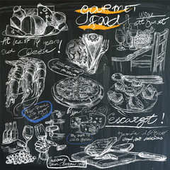 gourmet food - hand drawings on blackboard, pack