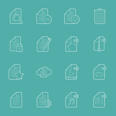 Files and documents thin lines icons set