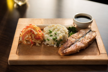 Grilled salmon with rice