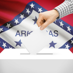 Ballot box with US state flag on background - Arkansas