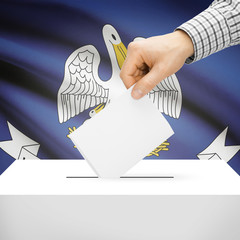 Ballot box with US state flag on background - Louisiana