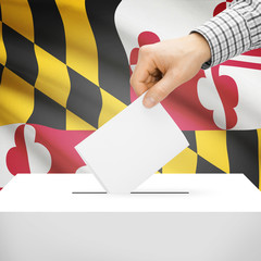 Ballot box with US state flag on background - Maryland