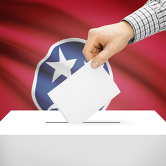 Ballot box with US state flag on background - Tennessee