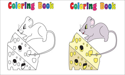 Coloring Book Page Mouse Cheese