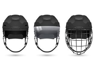 Black hockey helmet in three varieties
