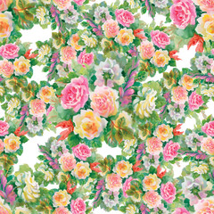 Seamless floral pattern with of red and orange roses