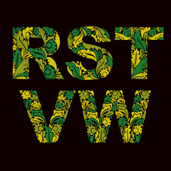 Vector letters decorated with spring seasonal leaves, R, S, T, V