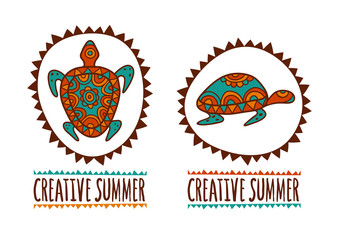 Hand drawn turtle tribal symbol. Vector illustration isolated on