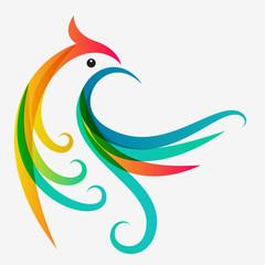 Abstract multicolor tropical bird, logo design template. Vector