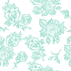 seamless pattern blue rose