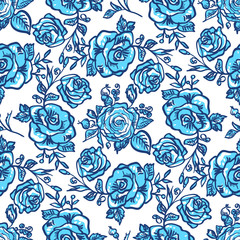 pattern blue rose branch