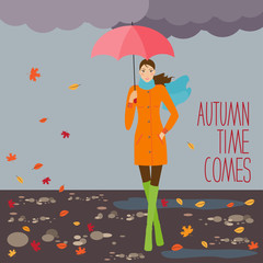 Bright illustration with autumn girl