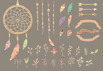 Hand drawn native american feathers, dream catcher, flowers