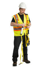 The worker in a uniform demonstrate a protection awareness