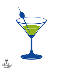 Martini glass with olive berry, alcohol and entertainment theme
