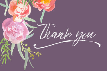 Thank you card with watercolor peonies and calligraphy