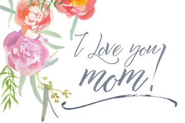 Happy Mother's Day Card With Watercolor Peonies and Calligraphy
