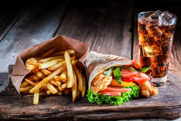 Fresh kebab with fries and cod drink - fototapety na wymiar