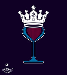 Sophisticated luxury wineglass with king crown, graphic artistic