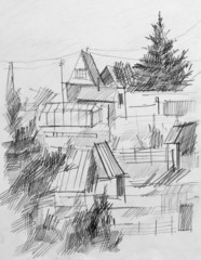Summer colony, pencil drawing