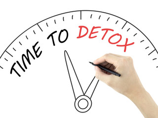 time to detox words written by man's hand
