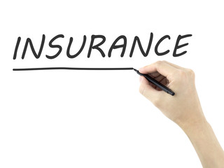 insurance word written by man's hand