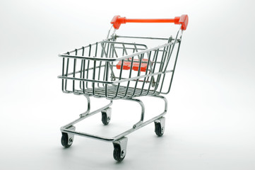 Empty shopping cart, side view