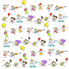 hand drawing cartoon happy kids playing