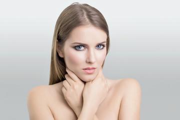 Gorgeous blonde woman in beauty shoot